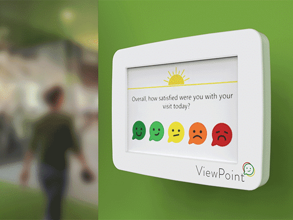 Smiley face survey on ViewPoint pulse wall mounted device