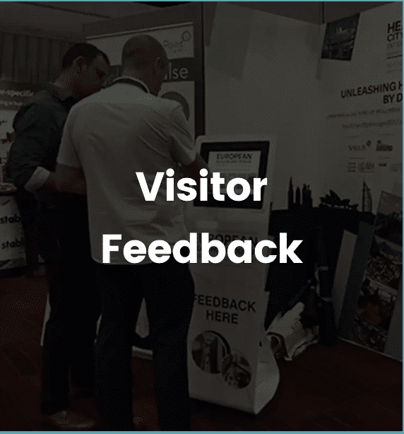 visitor feedback device being used at event