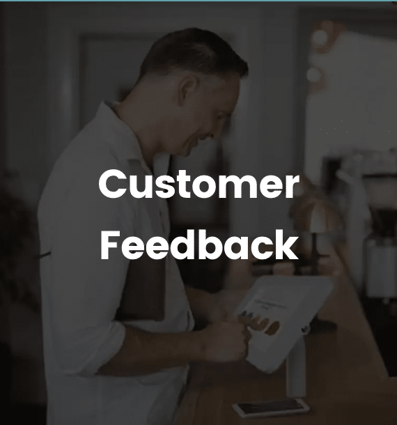 customer feedback device being used in store