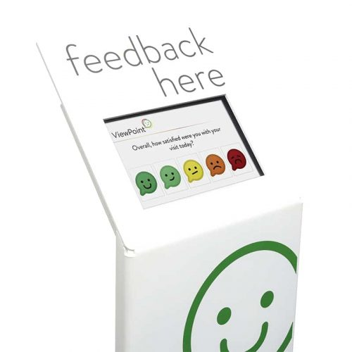 ViewPoint Element feedback kiosk with white background